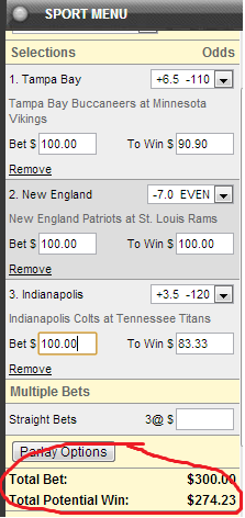 what does a $100 3 team parlay payout