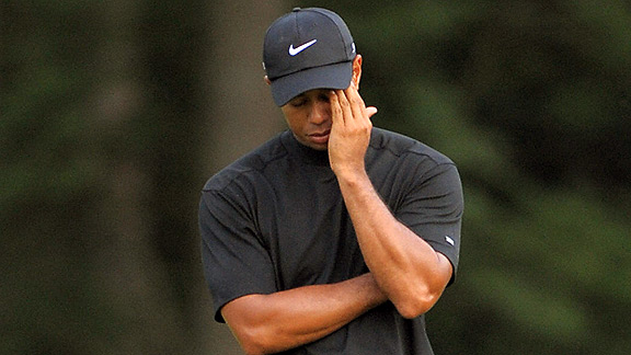 Tiger Woods sad
