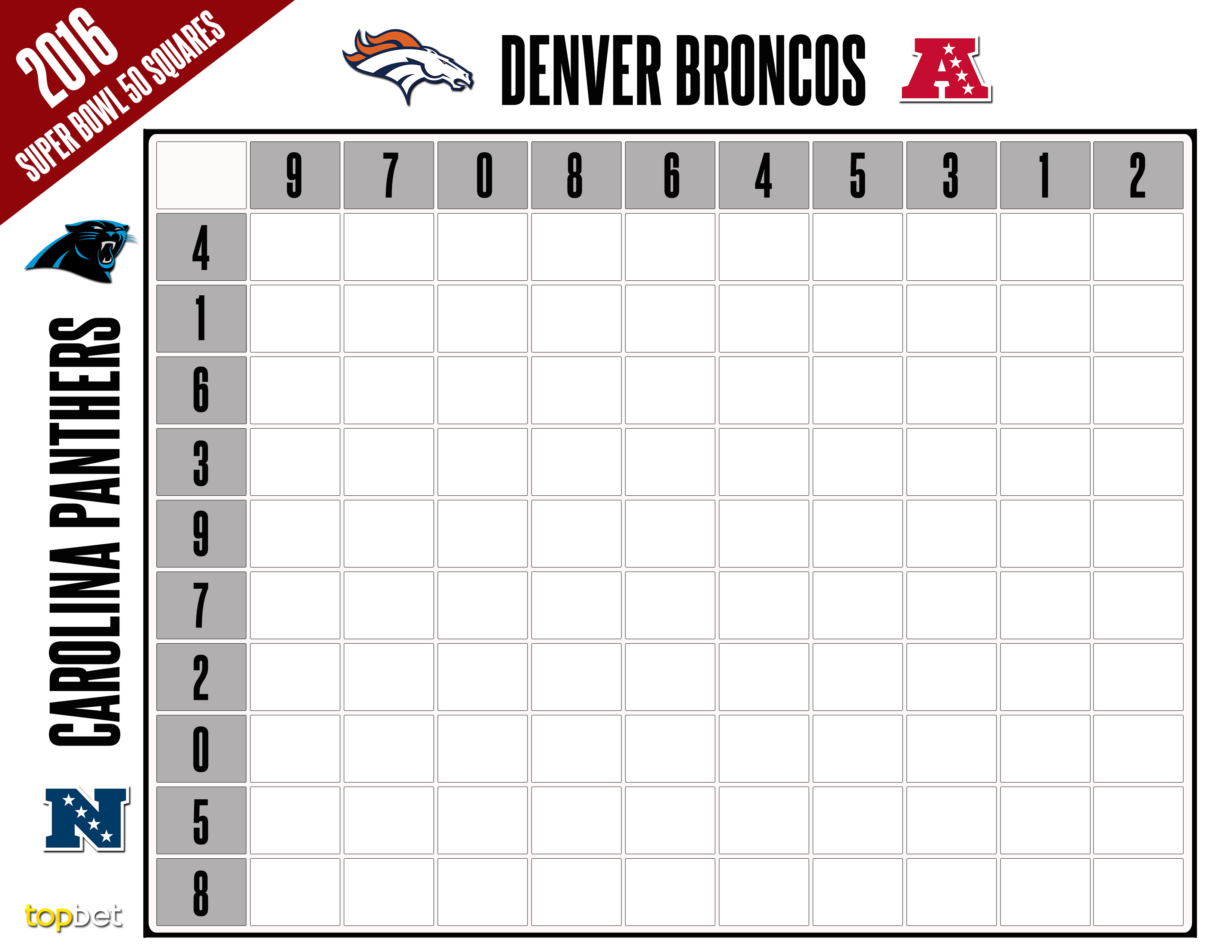 photo about Printable Super Bowl Pools called Printable Tremendous Bowl 50 Squares