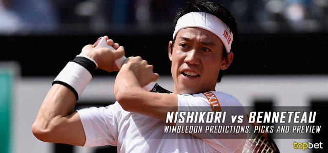 Kei Nishikori vs. Julien Benneteau Predictions, Odds, Picks and Tennis Betting Preview – 2016 Wimbledon Second Round