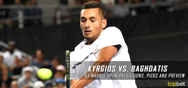 Nick Kyrgios vs. Marcos Baghdatis Predictions, Odds, Picks and Tennis Betting Preview – 2017 Mutua Madrid Open First Round
