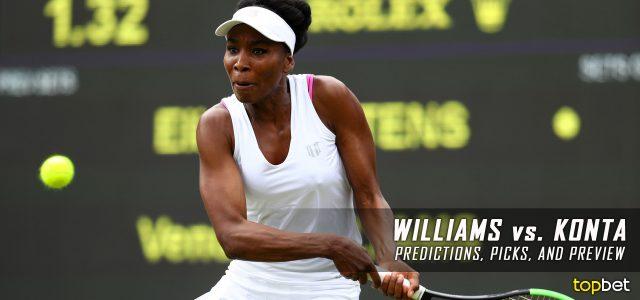 Venus Williams vs. Johanna Konta Predictions, Odds, Picks, and Tennis Betting Preview – 2017 Wimbledon Semifinals