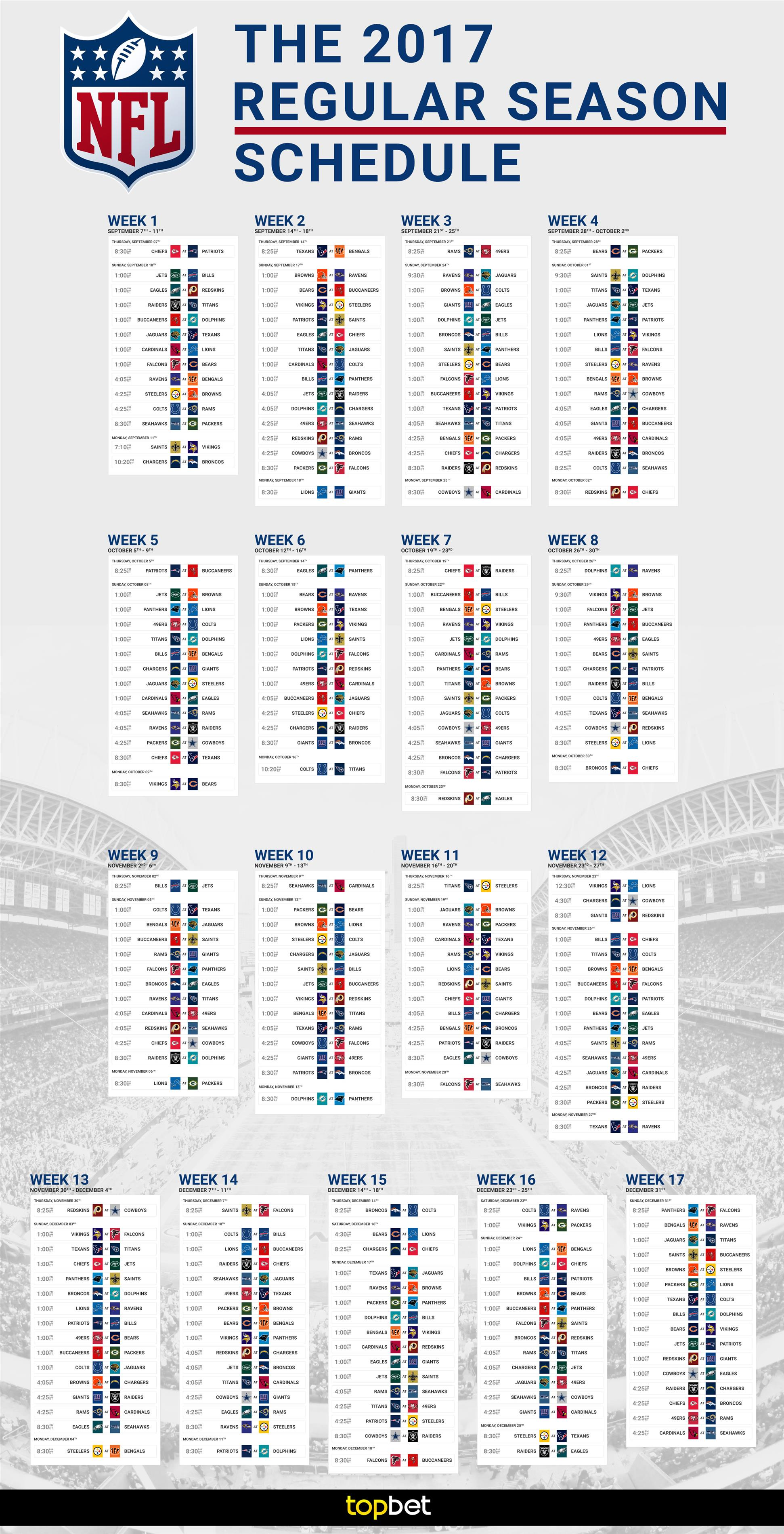 This is a picture of Divine Printable Nfl Schedules