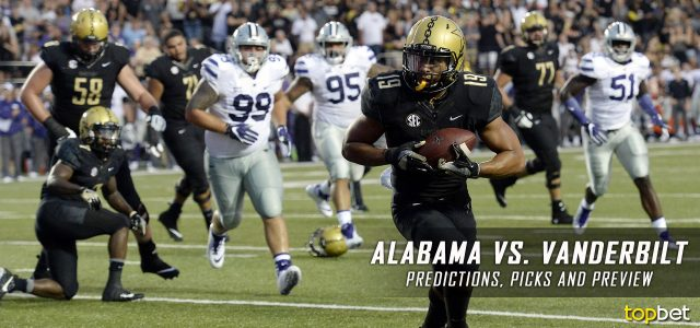 Alabama Crimson Tide vs. Vanderbilt Commodores Predictions, Picks, Odds, and NCAA Football Week Four Betting Preview – September 23, 2017