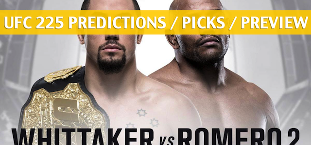 UFC 225 Predictions, Picks, Odds, and Betting Preview – Whittaker vs Romero 2 – June 9 2018