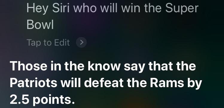 Computer Super Bowl Predictions 2019 - Super Bowl LIII SIRI Pick