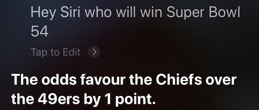 SIRI Super Bowl 54 Prediction 2020
