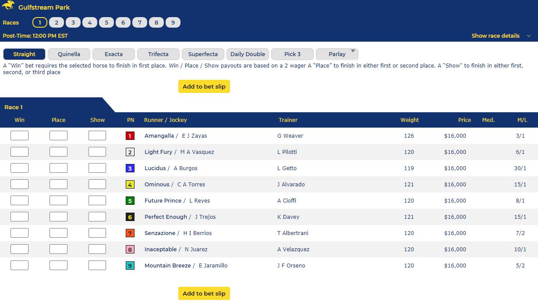 Gulfstream park horse racing odds betting craps scottish football betting tips